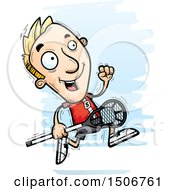 Clipart Of A Running White Male Lacrosse Player Royalty Free Vector Illustration