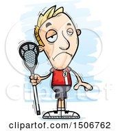 Clipart Of A Sad White Male Lacrosse Player Royalty Free Vector Illustration