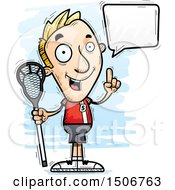 Clipart Of A Talking White Male Lacrosse Player Royalty Free Vector Illustration