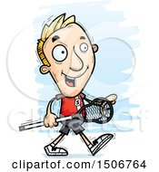 Clipart Of A Walking White Male Lacrosse Player Royalty Free Vector Illustration