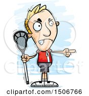 Clipart Of A Mad Pointing White Male Lacrosse Player Royalty Free Vector Illustration