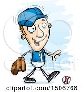 Clipart Of A Walking White Male Baseball Player Royalty Free Vector Illustration