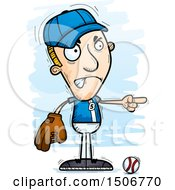 Clipart Of A Mad Pointing White Male Baseball Player Royalty Free Vector Illustration