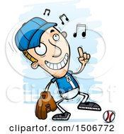 Clipart Of A Happy Dancing White Male Baseball Player Royalty Free Vector Illustration