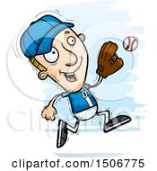 Poster, Art Print Of Running White Male Baseball Player