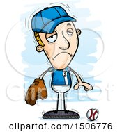 Clipart Of A Sad White Male Baseball Player Royalty Free Vector Illustration