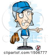 Clipart Of A Mad Pointing Senior White Female Baseball Player Royalty Free Vector Illustration