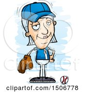 Clipart Of A Confident Senior White Female Baseball Player Royalty Free Vector Illustration