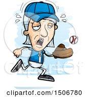 Poster, Art Print Of Tired Senior White Female Baseball Player