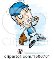 Clipart Of A Jumping Senior White Female Baseball Player Royalty Free Vector Illustration