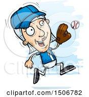 Clipart Of A Running Senior White Female Baseball Player Royalty Free Vector Illustration