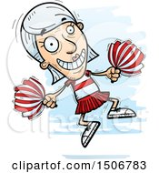 Clipart Of A Jumping Senior White Female Cheerleader Royalty Free Vector Illustration