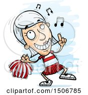 Clipart Of A Happy Dancing Senior White Female Cheerleader Royalty Free Vector Illustration