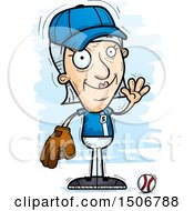 Clipart Of A Waving Senior White Female Baseball Player Royalty Free Vector Illustration by Cory Thoman