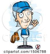 Clipart Of A Waving Senior White Female Baseball Player Royalty Free Vector Illustration