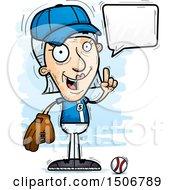 Clipart Of A Talking Senior White Female Baseball Player Royalty Free Vector Illustration