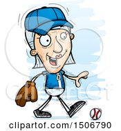 Clipart Of A Walking Senior White Female Baseball Player Royalty Free Vector Illustration by Cory Thoman