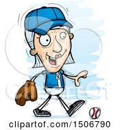 Clipart Of A Walking Senior White Female Baseball Player Royalty Free Vector Illustration
