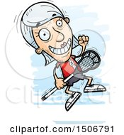 Clipart Of A Jumping Senior White Female Lacrosse Player Royalty Free Vector Illustration