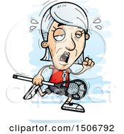 Clipart Of A Tired Senior White Female Lacrosse Player Royalty Free Vector Illustration