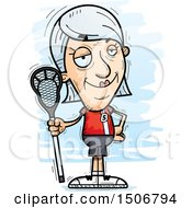 Clipart Of A Confident Senior White Female Lacrosse Player Royalty Free Vector Illustration