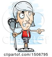Clipart Of A Mad Pointing Senior White Female Lacrosse Player Royalty Free Vector Illustration by Cory Thoman