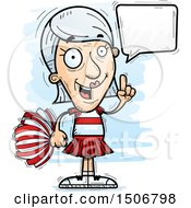 Clipart Of A Talking Senior White Female Cheerleader Royalty Free Vector Illustration by Cory Thoman