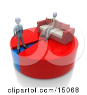Lazy Businessman Sitting With His Arms Spread Out On The Back Of A Couch Over A Large Portion Of A Pie Chart While Another Businessman Stands On A Small Blue Portion Of The Chart Clipart Graphic