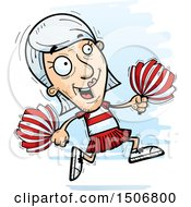 Clipart Of A Running Senior White Female Cheerleader Royalty Free Vector Illustration by Cory Thoman