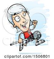 Clipart Of A Running Senior White Female Lacrosse Player Royalty Free Vector Illustration