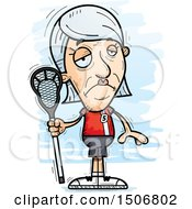 Clipart Of A Sad Senior White Female Lacrosse Player Royalty Free Vector Illustration