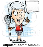 Clipart Of A Talking Senior White Female Lacrosse Player Royalty Free Vector Illustration