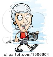 Clipart Of A Walking Senior White Female Lacrosse Player Royalty Free Vector Illustration