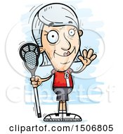 Clipart Of A Waving Senior White Female Lacrosse Player Royalty Free Vector Illustration by Cory Thoman