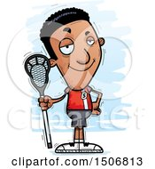 Clipart Of A Confident Black Male Lacrosse Player Royalty Free Vector Illustration