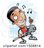 Clipart Of A Happy Dancing Black Male Lacrosse Player Royalty Free Vector Illustration