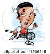 Clipart Of A Tired Black Male Lacrosse Player Royalty Free Vector Illustration