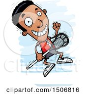 Clipart Of A Jumping Black Male Lacrosse Player Royalty Free Vector Illustration