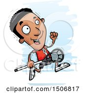 Clipart Of A Running Black Male Lacrosse Player Royalty Free Vector Illustration