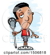 Clipart Of A Sad Black Male Lacrosse Player Royalty Free Vector Illustration