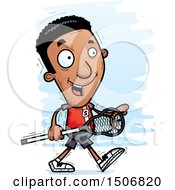 Clipart Of A Walking Black Male Lacrosse Player Royalty Free Vector Illustration