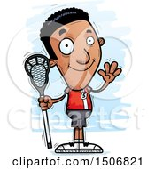 Waving Black Male Lacrosse Player