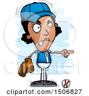Clipart Of A Mad Pointing Black Female Baseball Player Royalty Free Vector Illustration