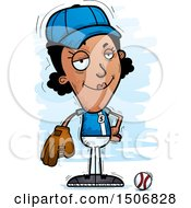 Clipart Of A Confident Black Female Baseball Player Royalty Free Vector Illustration