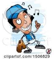 Clipart Of A Happy Dancing Black Female Baseball Player Royalty Free Vector Illustration