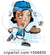 Clipart Of A Tired Black Female Baseball Player Royalty Free Vector Illustration