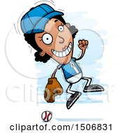 Clipart Of A Jumping Black Female Baseball Player Royalty Free Vector Illustration