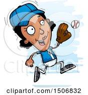 Clipart Of A Running Black Female Baseball Player Royalty Free Vector Illustration