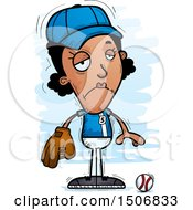 Clipart Of A Sad Black Female Baseball Player Royalty Free Vector Illustration by Cory Thoman