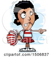 Clipart Of A Mad Pointing Black Female Cheeleader Royalty Free Vector Illustration